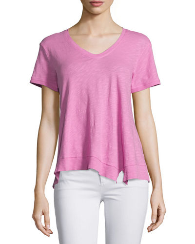 Slouchy Asymmetric V Neck Top