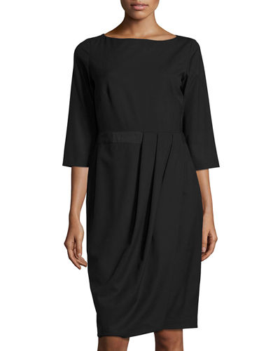 Delfino Ruched 3/4-Sleeve Dress, Black