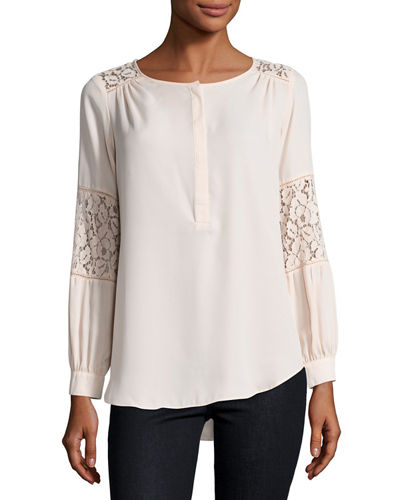 Lace-Inset Peasant Tunic