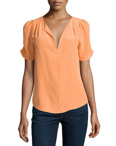 Amone Short-Sleeve Crepe Top
