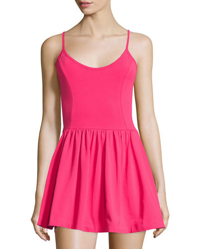 Double Layered Sleeveless Skirted Short Jumpsuit, Passion Pink
