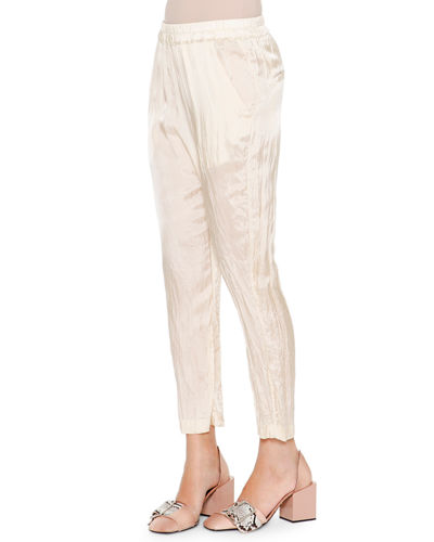 Anniball Slim-Leg Crushed Ankle Pants, Straw