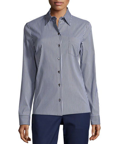 Skinny-Stripe Button-Front Classic Shirt