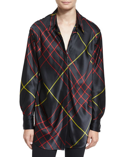 Edith Silk Satin Plaid Blouse