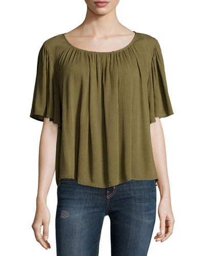 Lola Relaxed Flowy Blouse, Olive