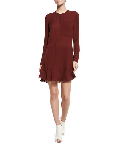 Montana Long-Sleeve Silk Flounce Dress