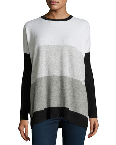 Side-Button Colorblock Cashmere Sweater