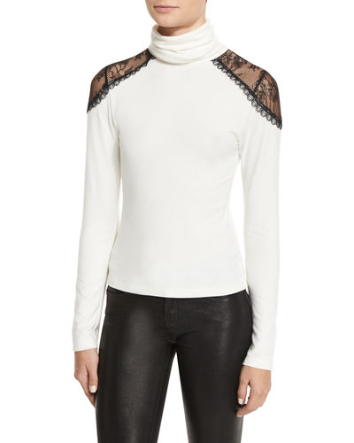 Krystalle Lace-Shoulder Turtleneck Top