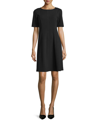 Seamed Short-Sleeve Fit & Flare Dress