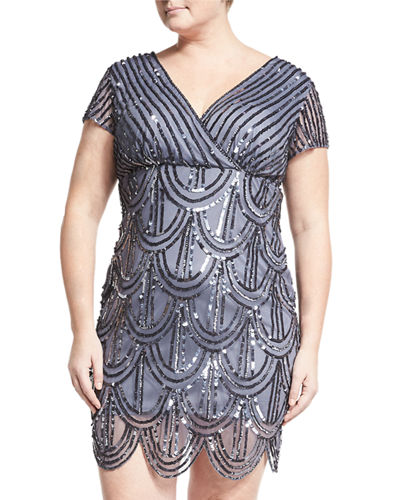 Embellished Fish-Scale Dress, Plus Size