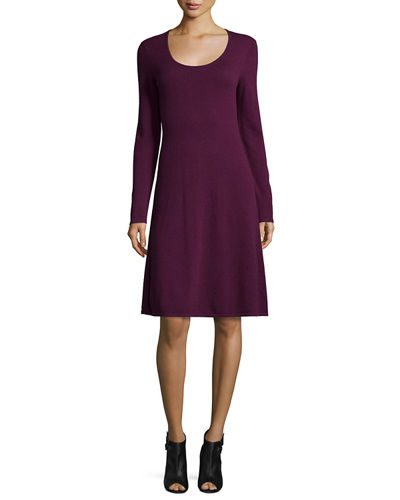 Cashmere Long-Sleeve Fit-&-Flare Dress