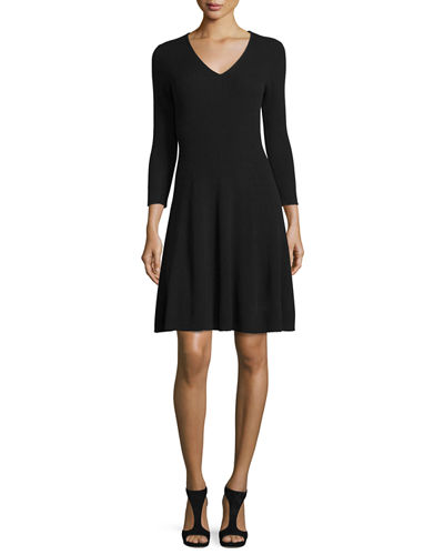Ribbed Cashmere Fit Flare Dress
