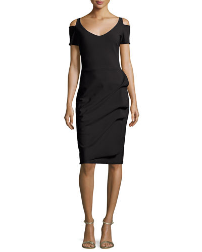 Julia Cold-Shoulder Ruched Cocktail Sheath Dress