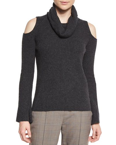 Torrence Cashmere Cowl-Neck Cold-Shoulder Ribbed Sweater