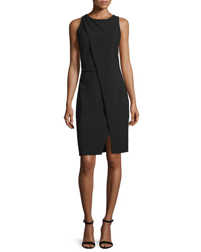 Sleeveless Fold-Over Sheath Dress