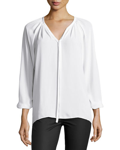 Long-Sleeve Tie-Front Blouse