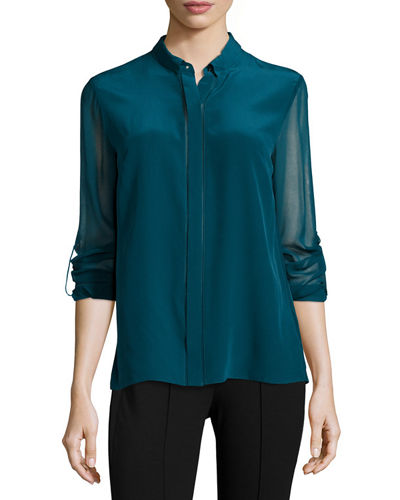 Ava Silk Long-Sleeve Blouse
