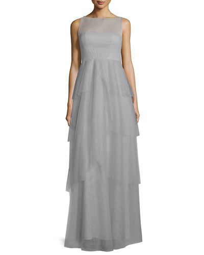 Hyacinth Sleeveless Tiered Mesh Gown