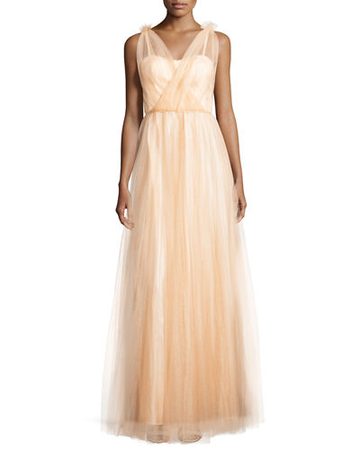 Emmy Sleeveless Pleated Tulle Gown
