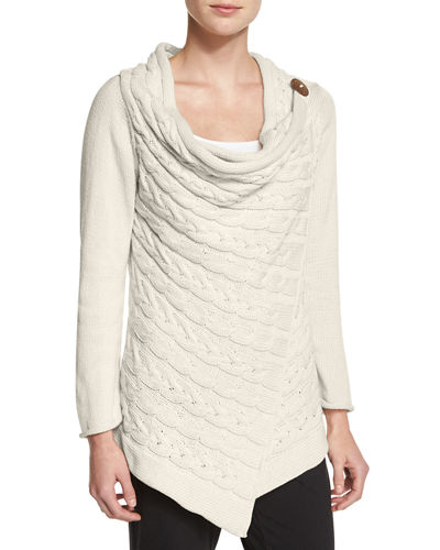 Draped Neck Cable Knit Cardigan