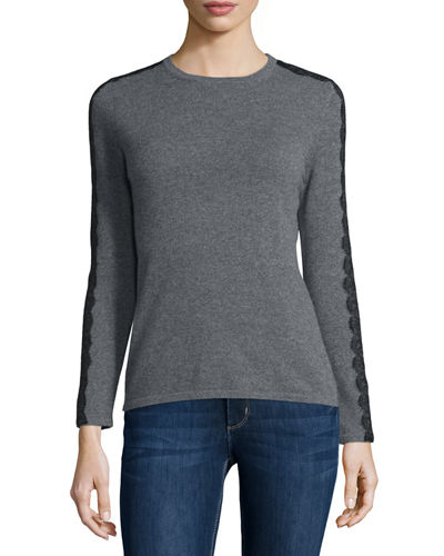 Long Sleeve Crewneck Cashmere Sweater w/ Lace Trim