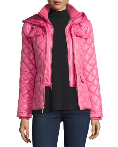 packable quilted short coat w/ bow detail