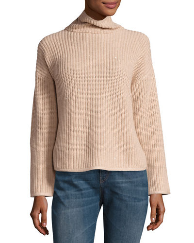 Cashmere-Blend Turtleneck Ribbed Sweater