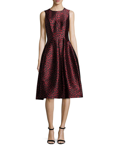Dotted Jacquard Midi Bell Dress