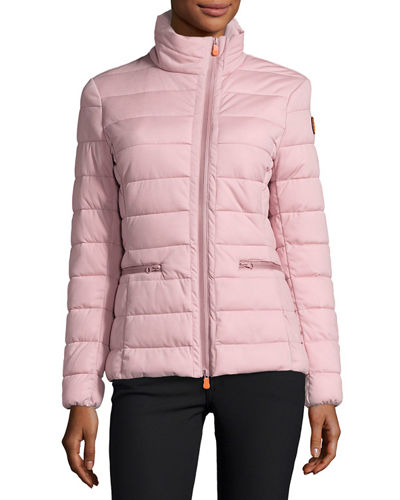 Funnel Neck Asymmetric Zip Puffer Jacket