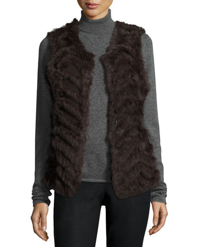 Chevron Fur Sweater Vest