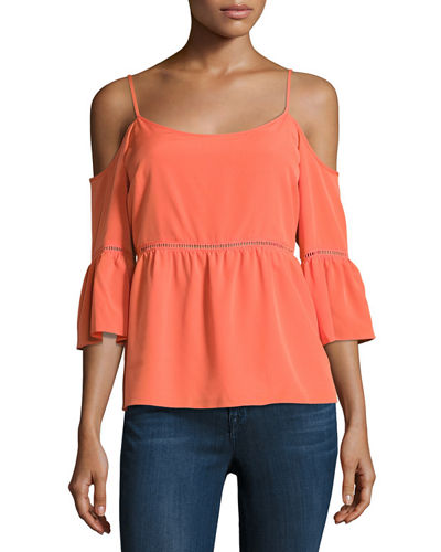 Cold Shoulder Ruffled Peasant Blouse
