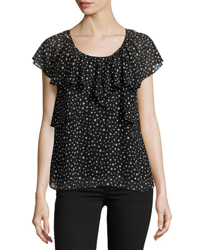 Dot-Print Ruffled Georgette Blouse