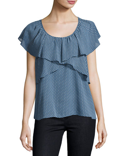 Dot Print Ruffled Georgette Blouse