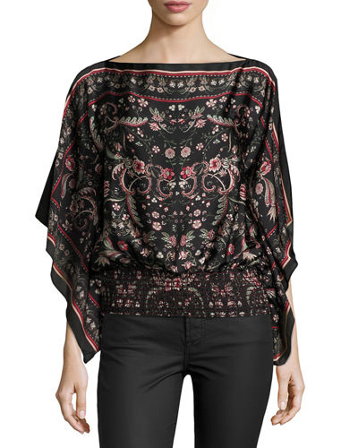 Cascade Floral-Print Smocked Blouse