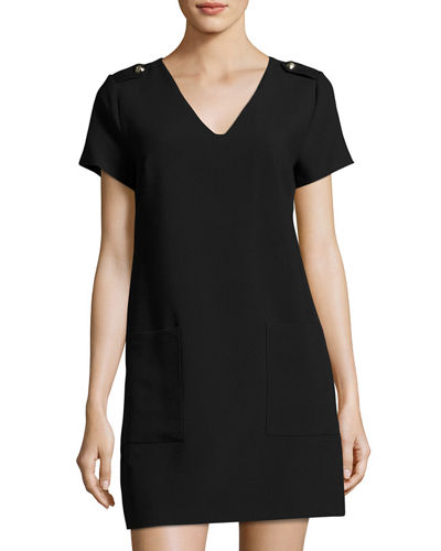 Epaulet Short Sleeve Shift Dress