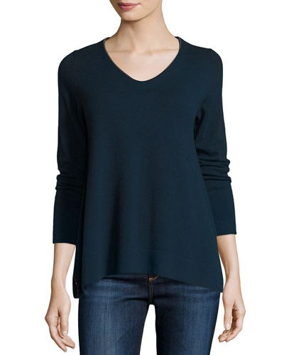 Cashmere V Neck w/ Beaded Trim