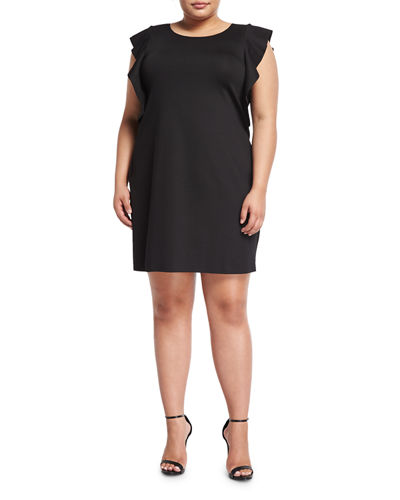 Ruffle Sleeve Shift Dress Plus Size