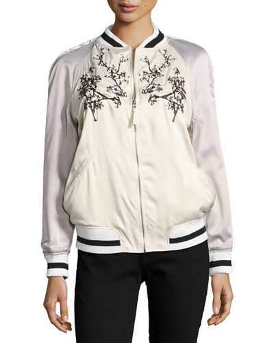 Japanese Floral Embroidered Bomber Jacket