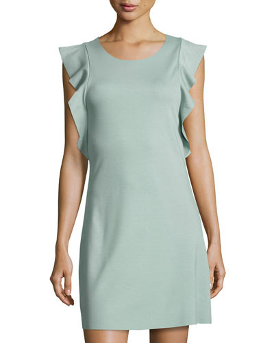 Ruffled-Trim Shift Dress