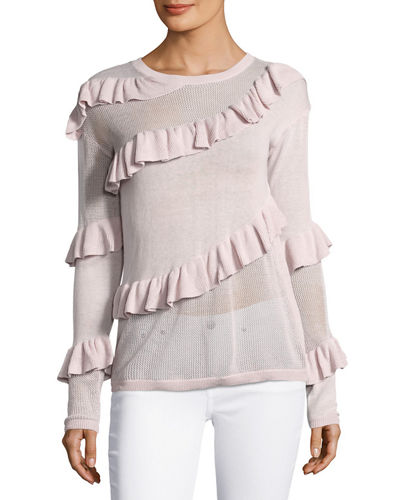 Ruffled Crewneck Sweater