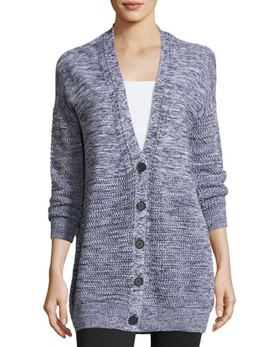Marled Textured-Knit Cardigan