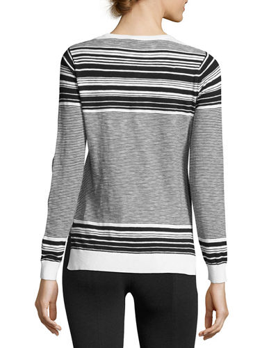 Graphic Striped Cotton Sweater