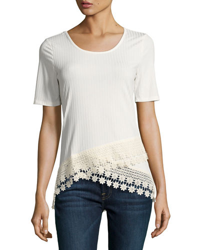 Rib Knit Lace Trimmed Tee