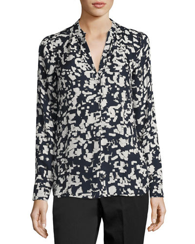 Confetti-Print Long-Sleeve Silk Shirt