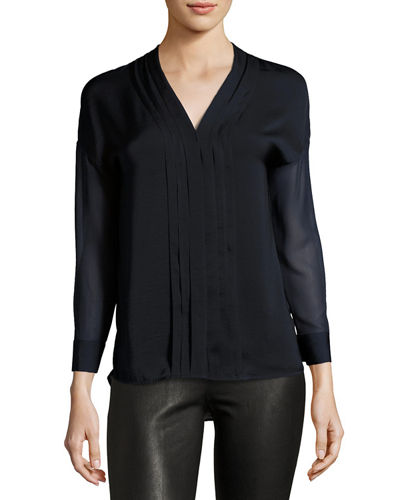 Long Sleeve Embroidered Trim Top