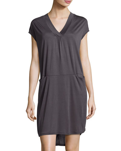 Slip-Pocket Draped Jersey Dress