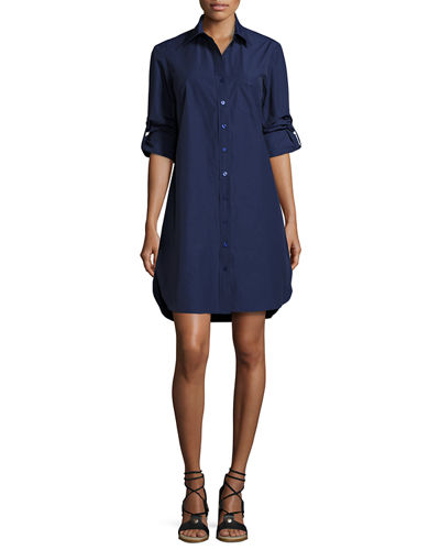 Alex Long-Sleeve Shirtdress, Plus Size