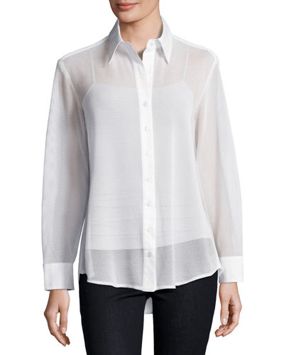 Mesh Barret Button-Front Blouse