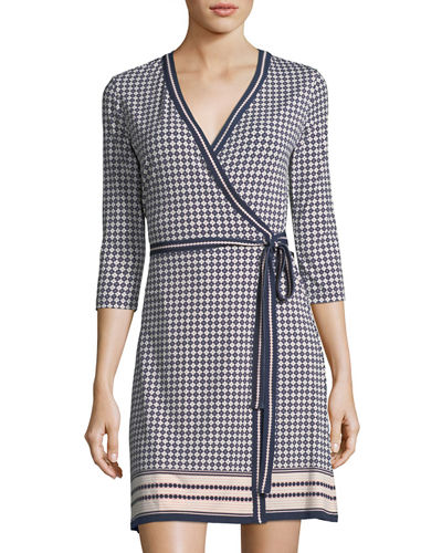 Geometric-Print Wrap Dress