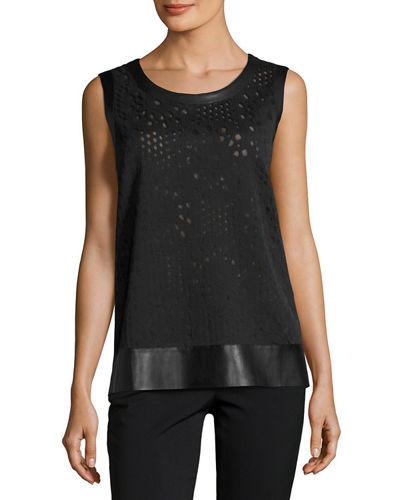 Sleeveless Lace Top w/ Faux Leather Trim